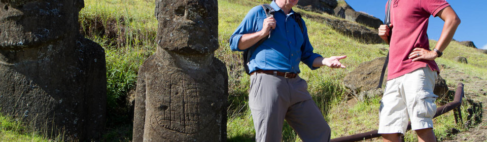 Richard Bangs and Mata'u on Easter Island.